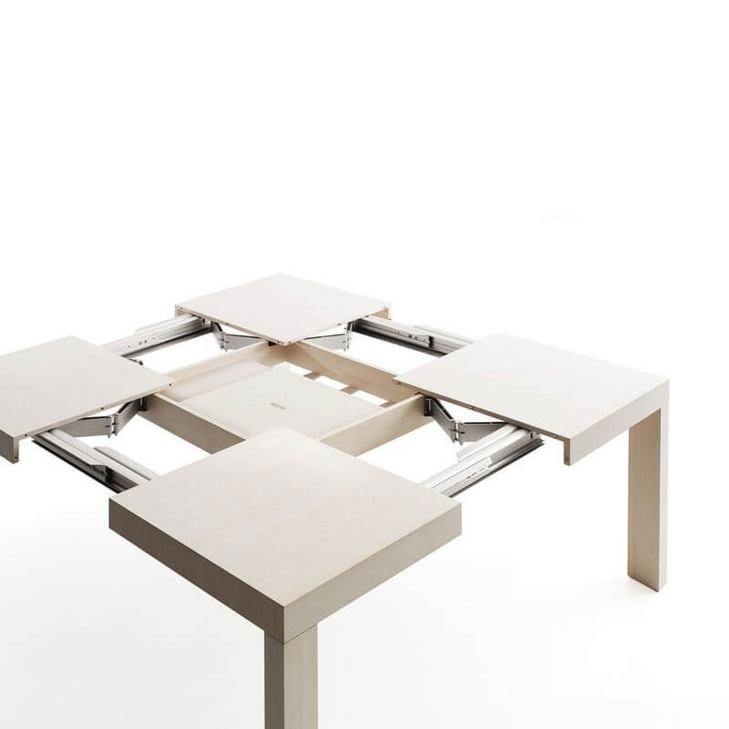 Awesome table de jardin carree extensible contemporary for Table blanc laquee carree extensible