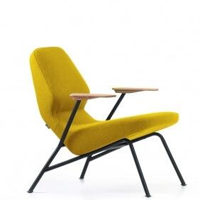 OBLIQUE - fauteuil acier tissu Rico