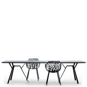RADICE QUADRA - table noire en aluminium 290 x 90 cm