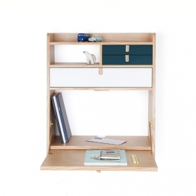 GASTON - secrétaire chêne tiroir blanc et bleu pétrole