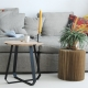 SHUNAN - table basse frêne et métal ø 46 cm