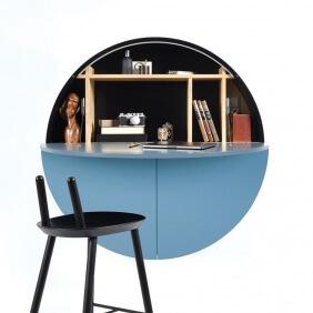 PILL - bureau mural bleu / noir 30.5 x ø 110 cm