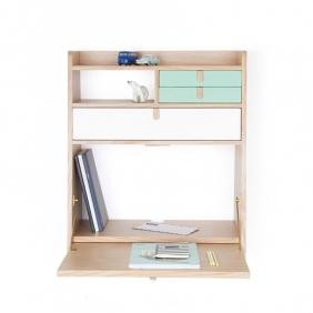 GASTON - secrétaire chêne tiroir blanc et celadon