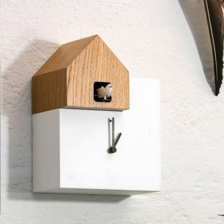ETTORE - horloge blanc / toit chêne