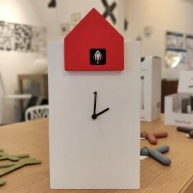ETTORE - grande horloge blanc / toit rouge