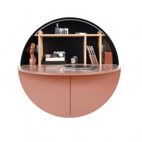 PILL - bureau saumon / noir 30.5 x ø 110 cm