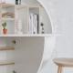 PILL - bureau mural blanc 30.5 x ø 110 cm