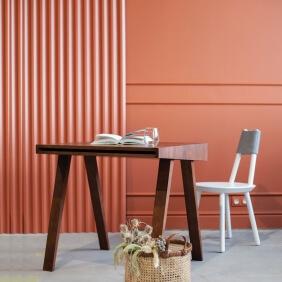 DESK 4.9 - bureau 80 x 70 cm frêne teint brun foncé