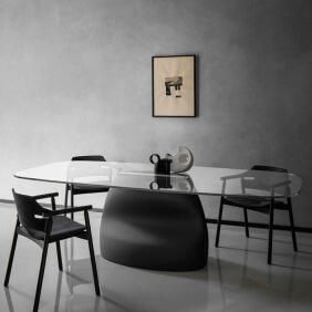 GRAN SASSO - table en Baydur, cuir et verre 250 x 120 cm