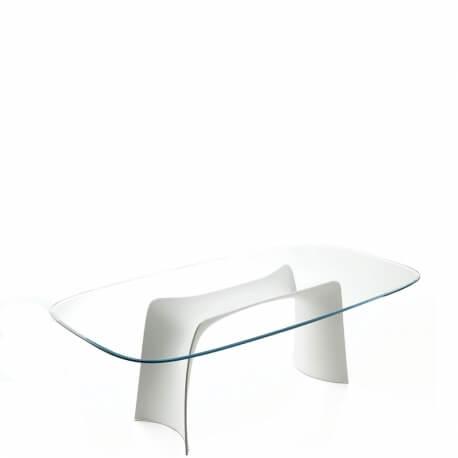 MOONLIGHT - table en verre transparent 200 x 100 cm