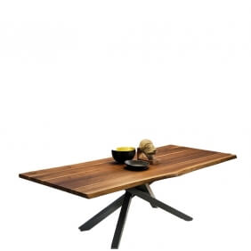 PECHINO - table plateau noyer coupe organique 200 x106 cm