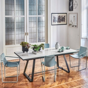 ALFRED - table extensible 2 à 3m en métal et céramique effet marbre