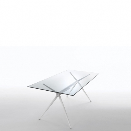 BRIOSO - table métal et verre 140 x 80 cm