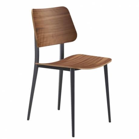 JOE S M LG - chaise métal et chêne foncé (lot de 2)