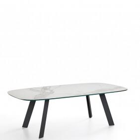 ALEXANDER - table en céramique plateau tonneau 250 x 120 cm