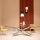 NEXUS - table ovale en Baydur et verre 280 x 120 cm