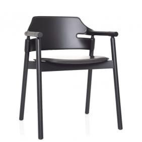 SUITE - chaise à accoudoirs en cuir noir