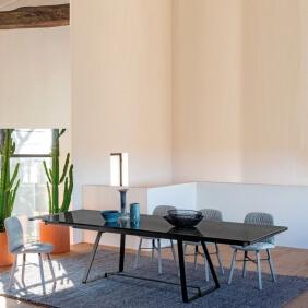 ALFRED - table extensible 2 à 3m céramique effet marbre noir