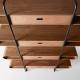 APELLE - étagère noyer avec tiroirs cuir H173 cm