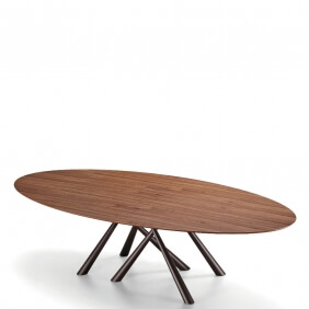 FOREST - table ovale en noyer flammé de 280 x 120 cm