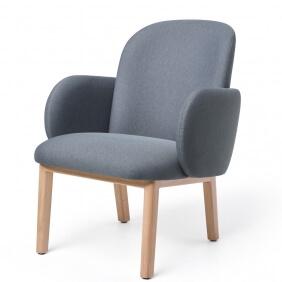 DOST - fauteuil en tissu pieds en hêtre