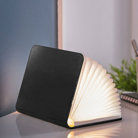 SMART BOOKLIGHT - lampe cuir noir 21 cm