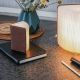 SMART BOOKLIGHT - lampe sans fil cuir noir 21 cm