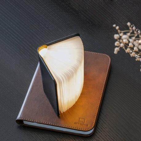 MINI SMART BOOKLIGHT - lampe cuir noir 12.5 cm