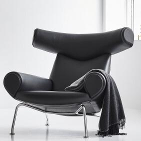 OXCHAIR EJ 100 - fauteuil en cuir noir Cava