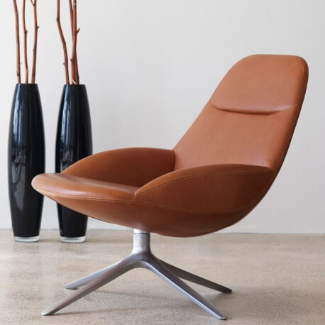 UMA EJ 10 - fauteuil rotatif en cuir aniline Elegance