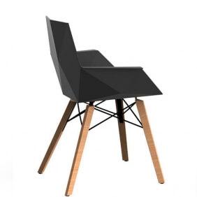 FAZ WOOD - fauteuil polypropylène piètement bois (lot de 4)