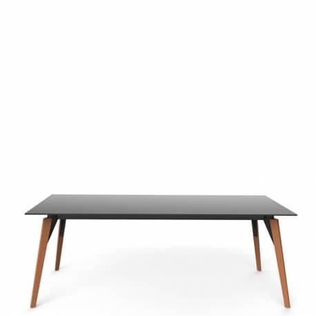 FRAME WOOFD - table polypropylène et bois 200 x 100 cm