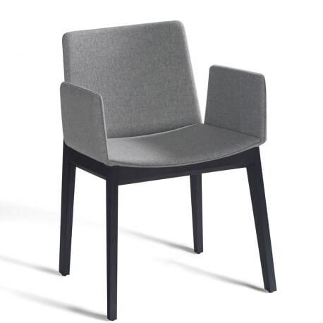 AVA - chaise à accoudoirs hêtre laqué tissu Divina Melange 2