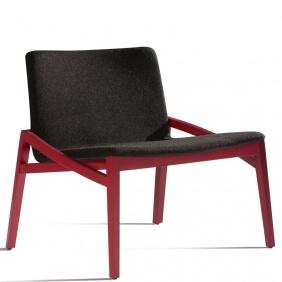CAPITA - fauteuil en hêtre laqué et repose pieds