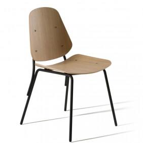 COL - chaise en hêtre piètement laqué noir