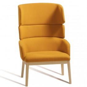 CONCORD - fauteuil dossier haut piètement hêtre