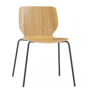 NIM - chaise en chêne piètement métal