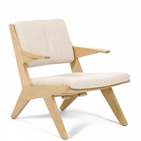 TOGGLE - fauteuil chêne tissu Grizzly