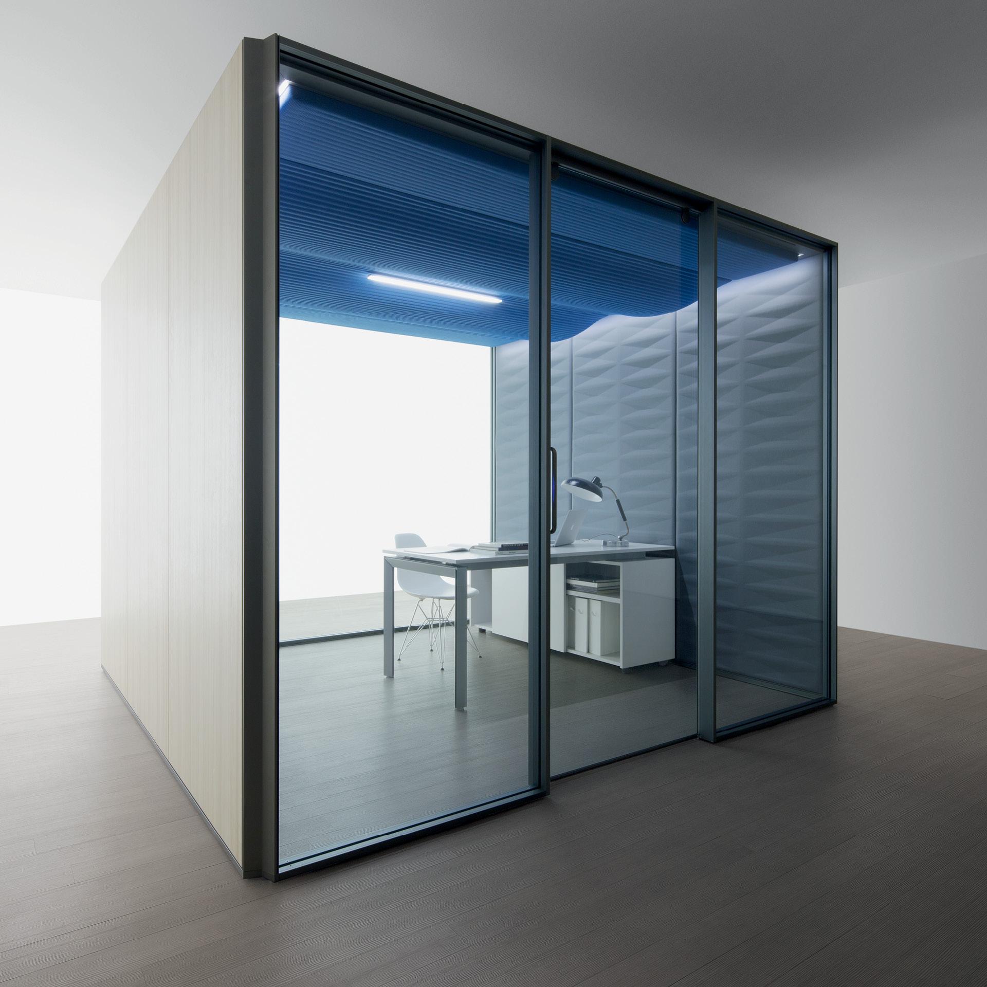 cabines acoustique fermee porte en verre